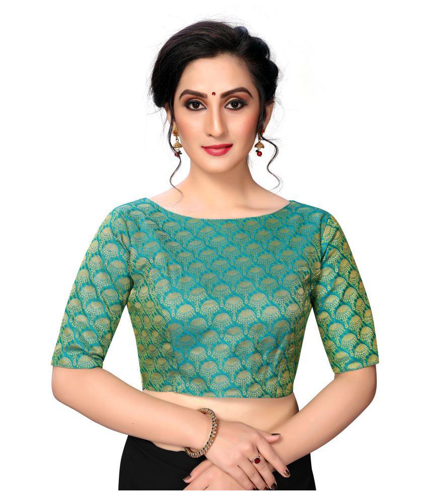 Fab Dadu Green Silk Semi Stitched Blouse