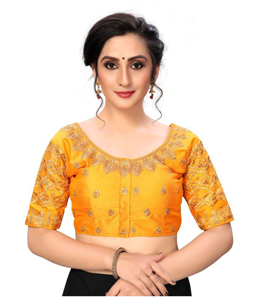 Fab Dadu Yellow Silk Semi Stitched Blouse
