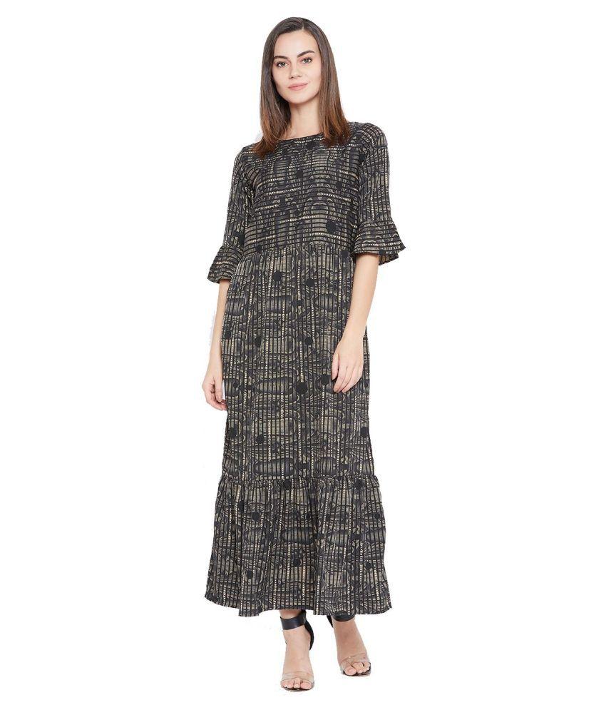 Cottinfab Poly Crepe Black Fit And Flare Dress