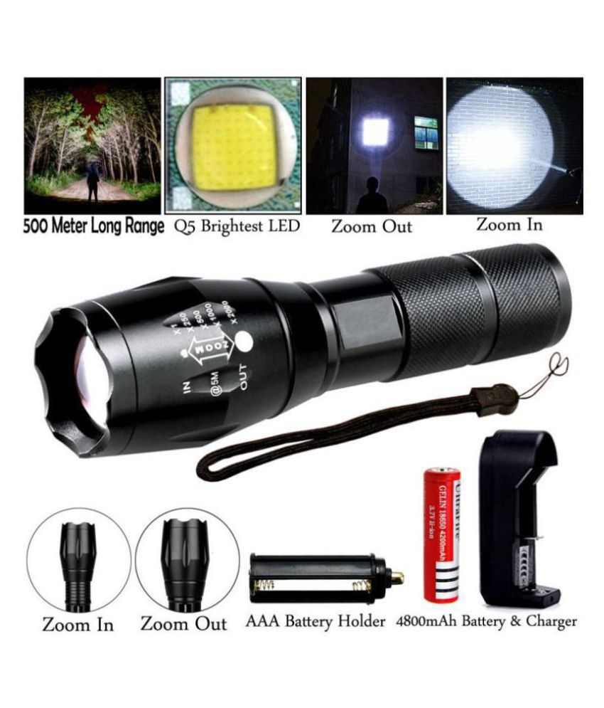 gpsales 12W Flashlight Torch Waterproof Chargeble - Pack of 1