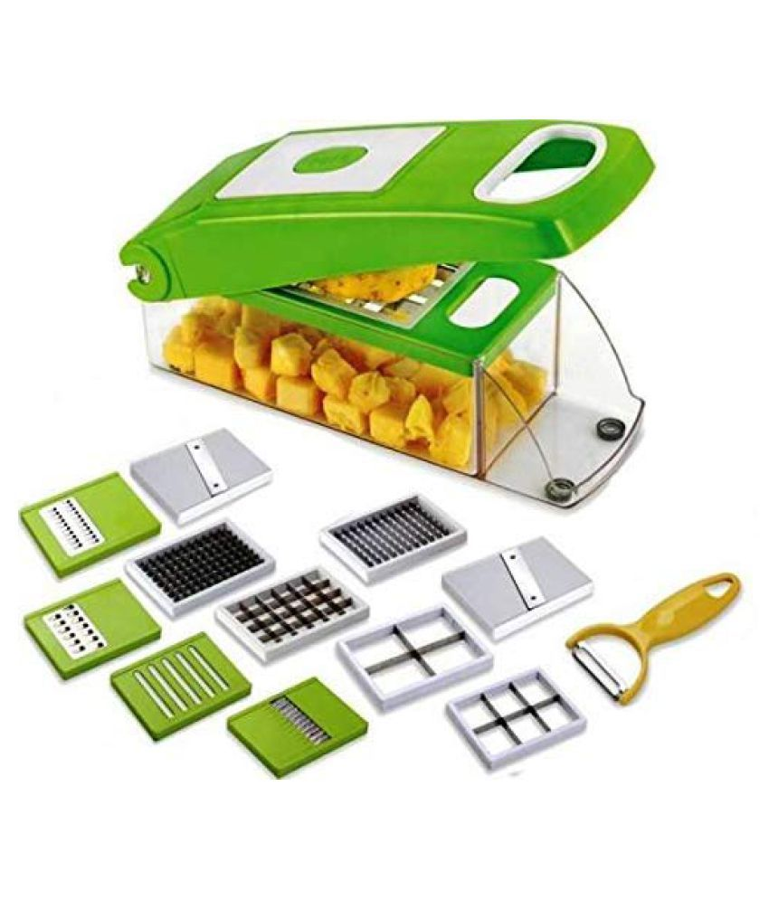 Lucky Box Multi-Purpose Plastic Vegetable and Fruits Grater, Chipser Chopper, Slicer, Cutter and Dicer with 11 Stainless Steel Blades and 1 Pillar Chopper For Kitchen