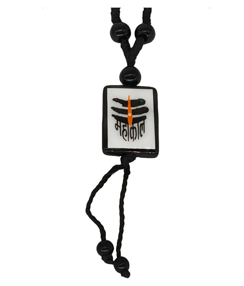 Men Style Religious Jewelry Mahakal Mahaadev Shiv Black White Crystal Cotton Dori  Necklace Pendant