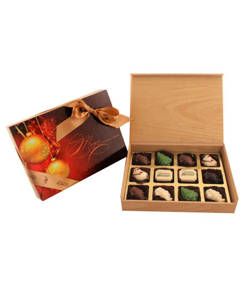 Zoroy Luxury Chocolate Chocolate Box Christmas wood box of 12 chocolates 120 gm