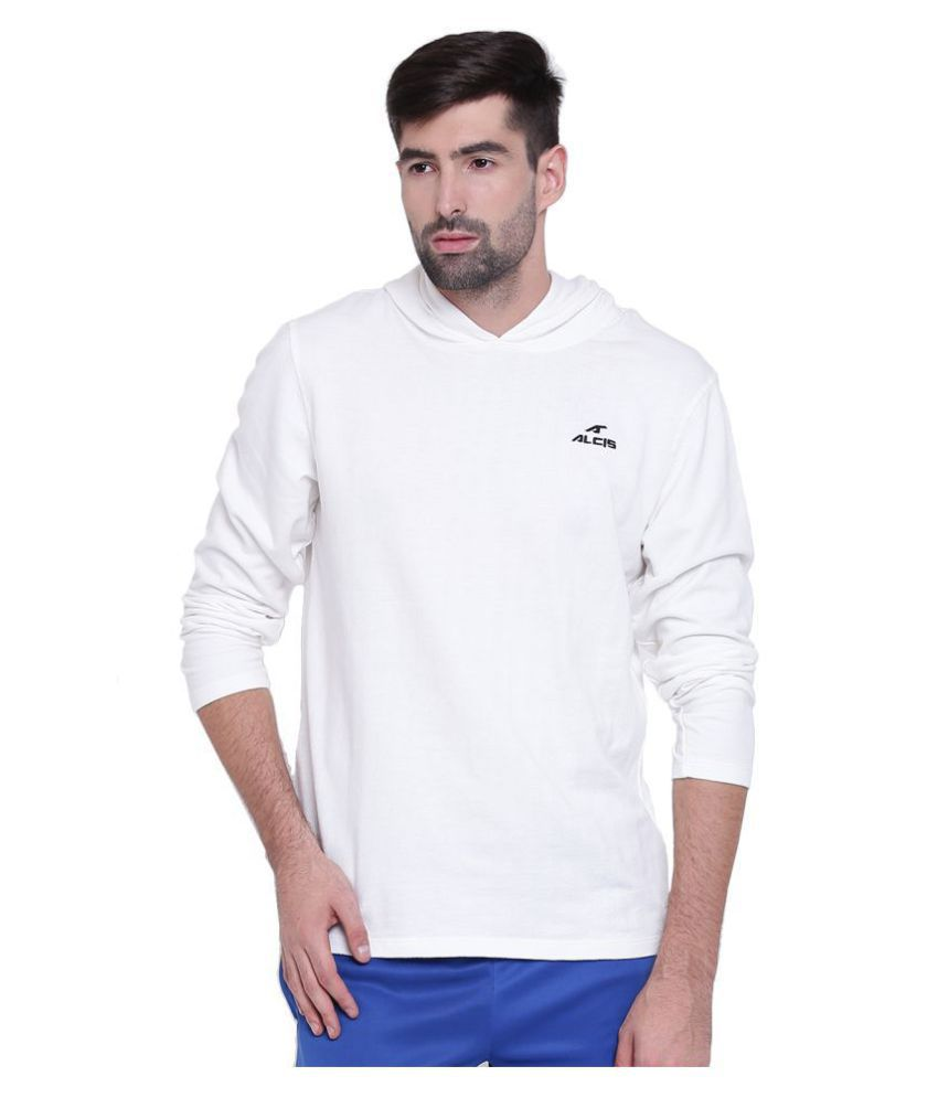 Alcis White Cotton Polyester Fleece Sweatshirt