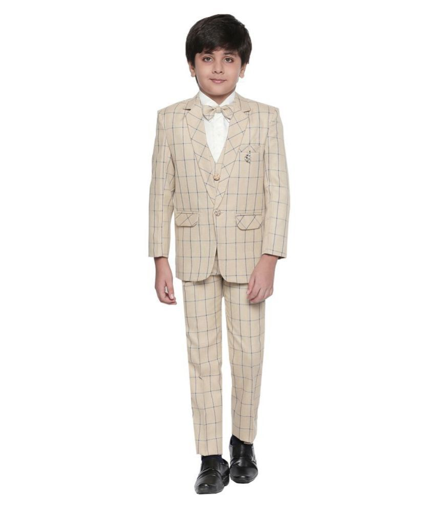 Jeetethnics Beige Silk Boys Coat Suit Set