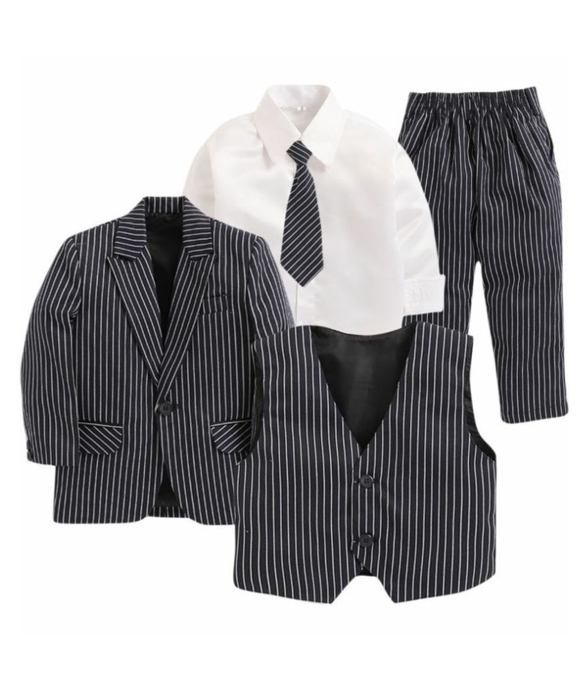 Jeetethnics Navy Blue Silk Boys Coat Suit Set