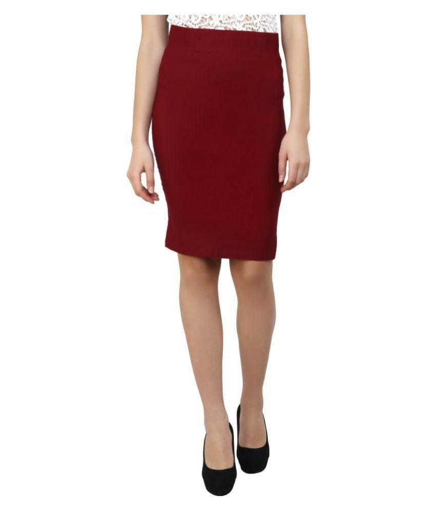 Aadrika Cotton Lycra Pencil Skirt - Maroon