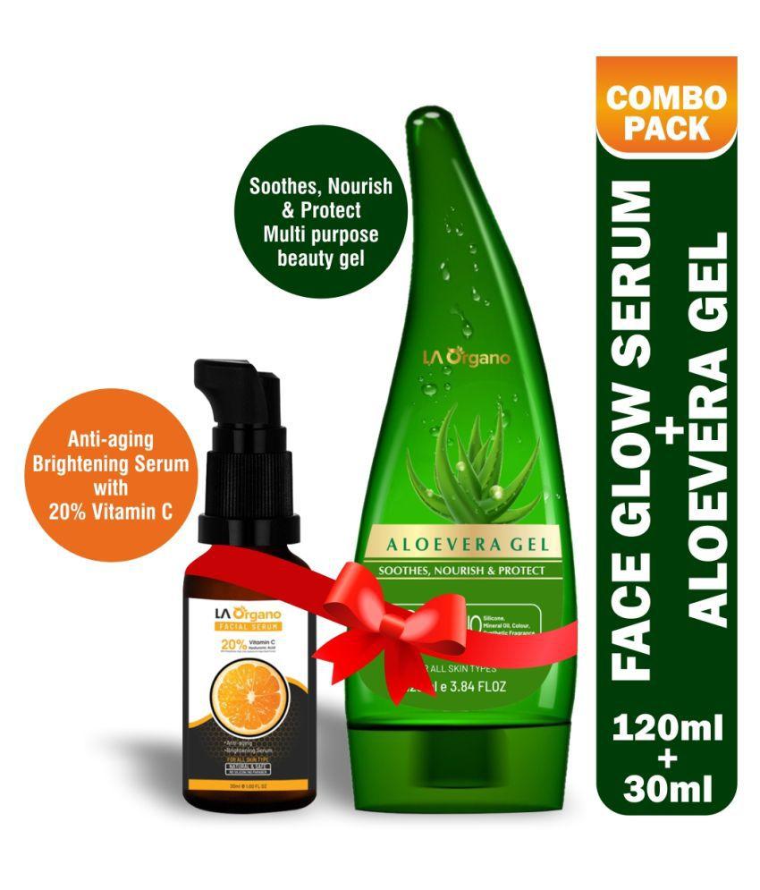 LA Organo Face Glow Serum For Skin Brightening, 30 ml And LA Organo Aloe Vera Gel for Face & Hair Moisturization, 120 ml Combo