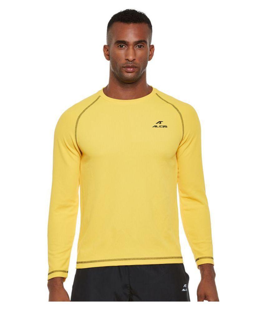 Alcis Yellow Polyester Fleece Sweatshirt