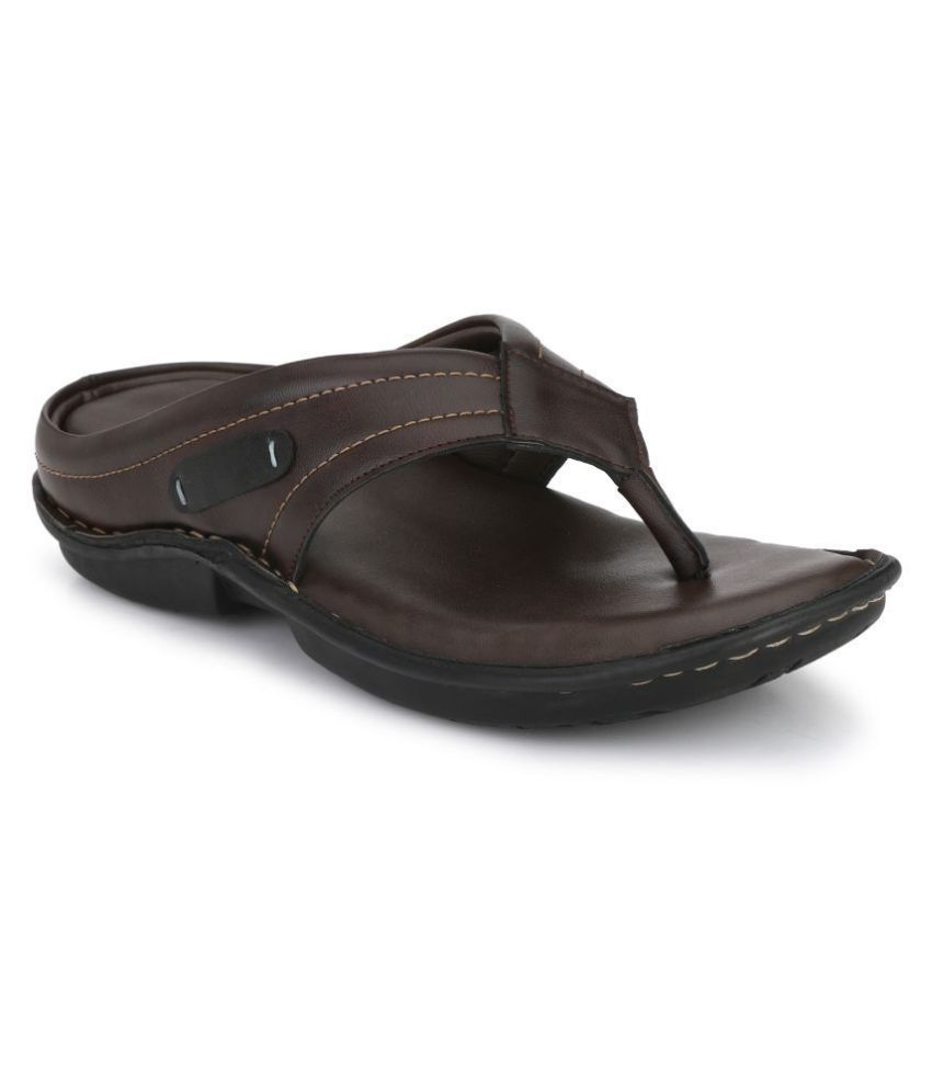 SHENCES Brown Leather Slippers