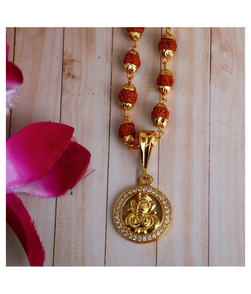 DIPALI Imitation Rudraksh Mala With Gold Plated GANPATI Inspired Pendant Set For Men BoyS