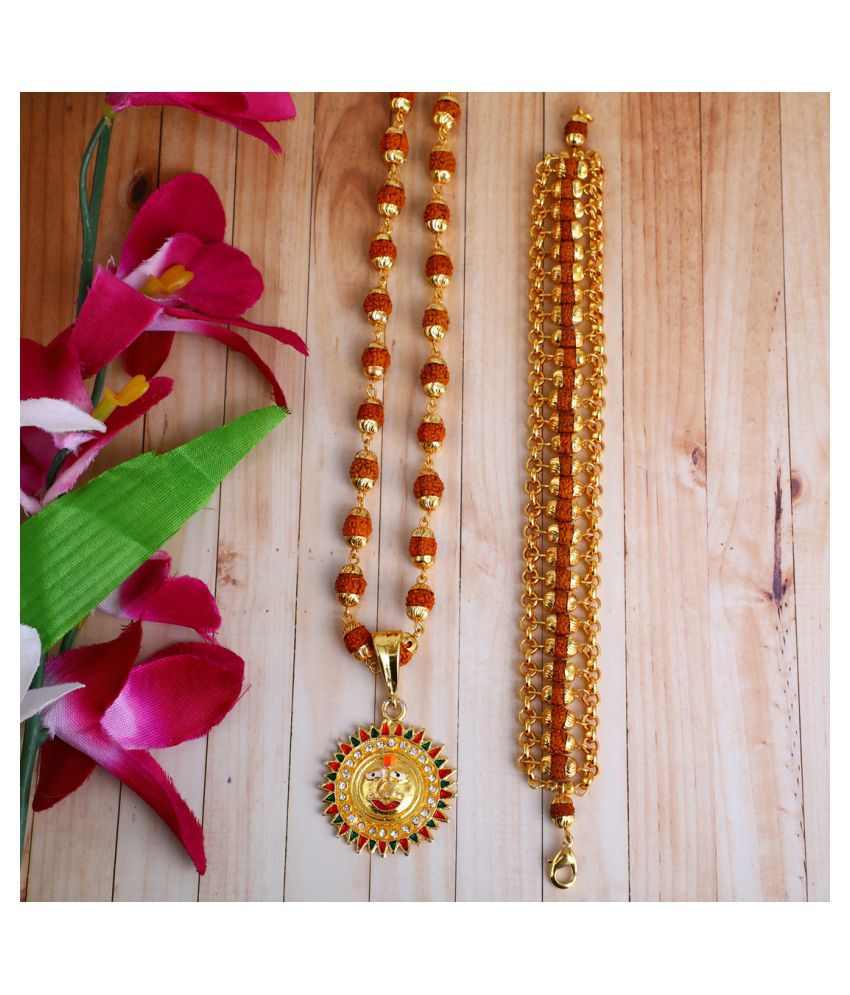 DIPALI Imitation Rudraksh Mala With BRACLET Gold Plated SURYA DEV Inspired Pendant Set For Men BoyS