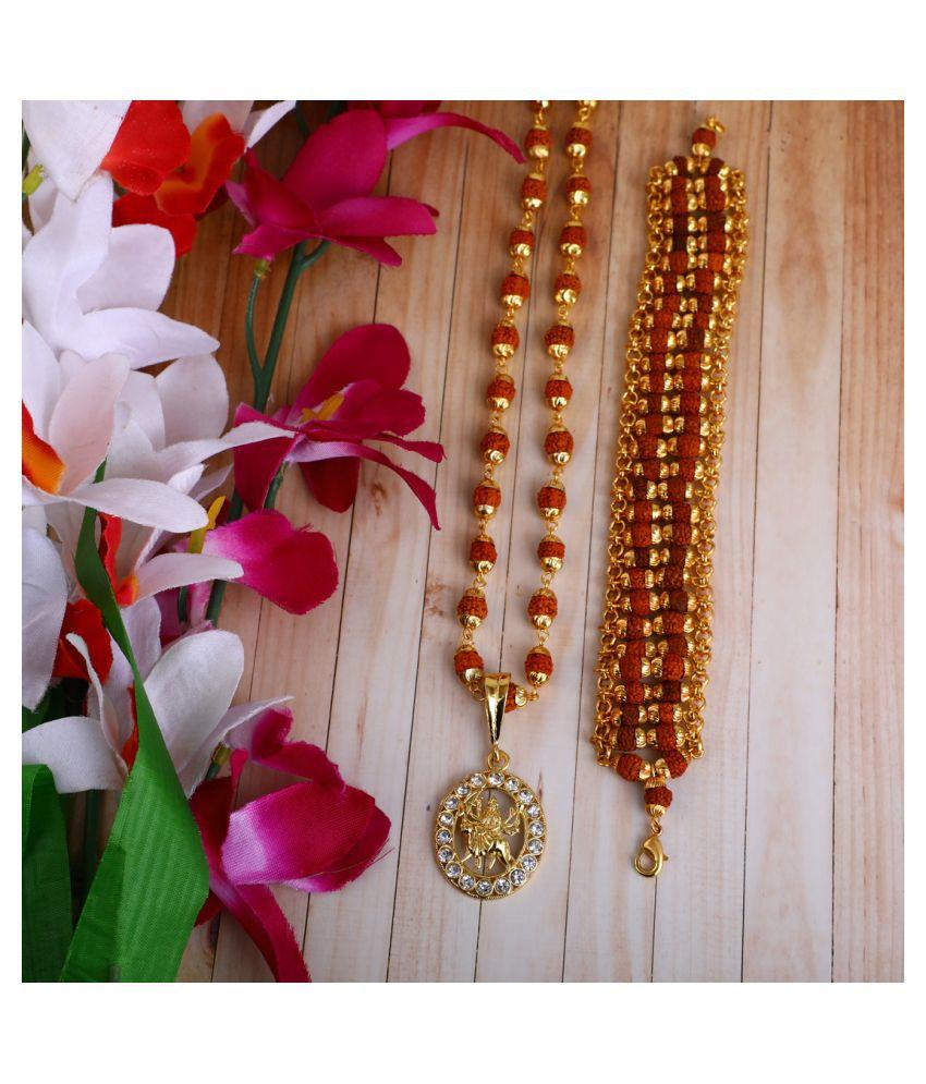 DIPALI Imitation Rudraksh Mala With BRACLET Gold Plated AMNE MA Inspired Pendant Set For Men BoyS