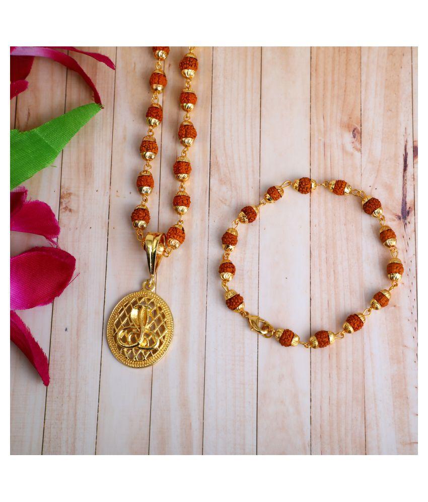 DIPALI Imitation Rudraksh Mala With BRACLET Gold Plated NAG DEVTA Inspired Pendant Set For Men BoyS
