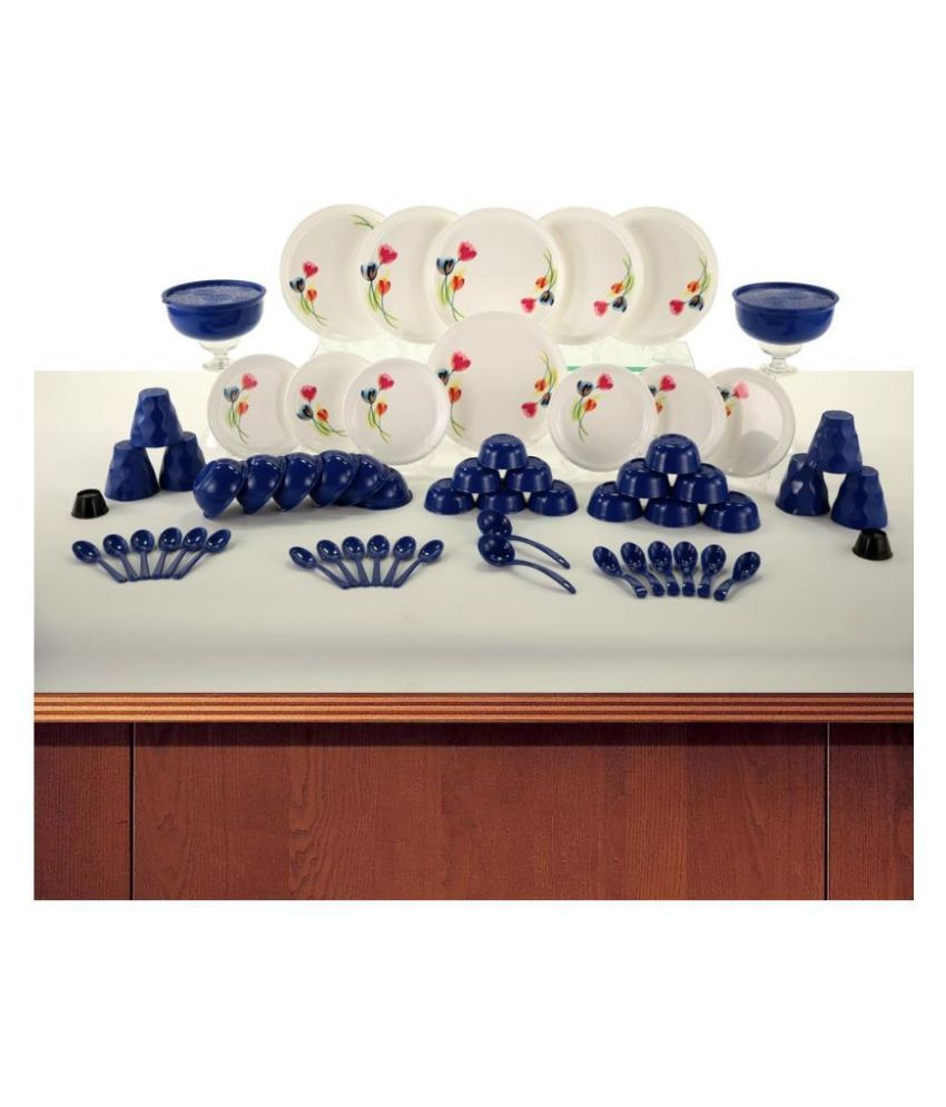 Homray Exotic Printed Plastic Dinner Set of 62 Pieces