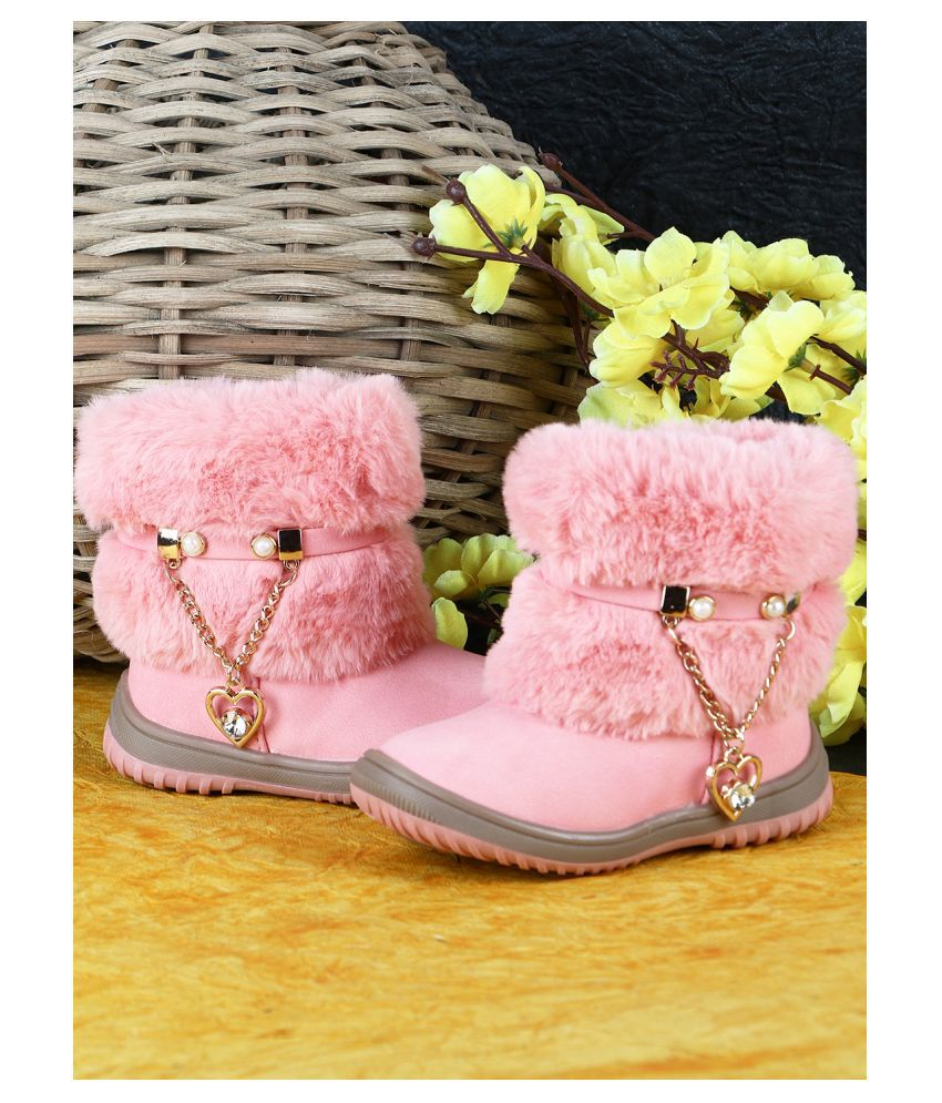 Passion Petals Winter Boots With Fur And Heart Chain For Girls -Pink