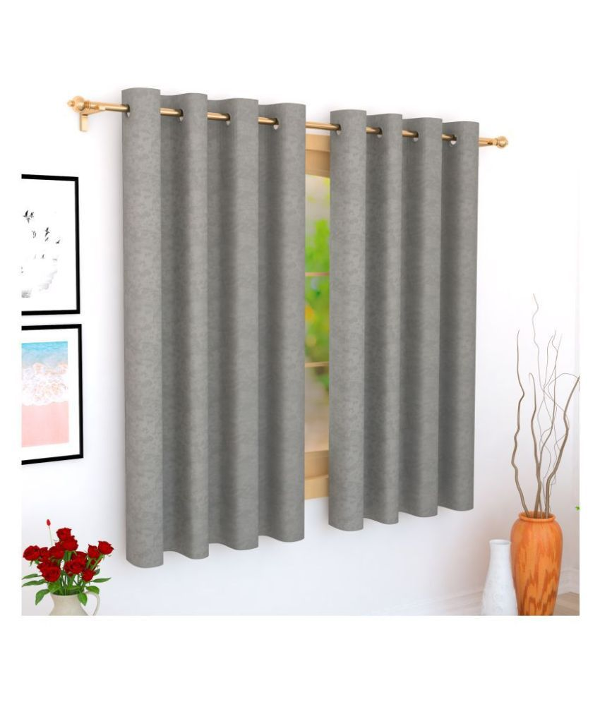 Story@Home Single Window Blackout Room Darkening Eyelet Jute Curtains Grey
