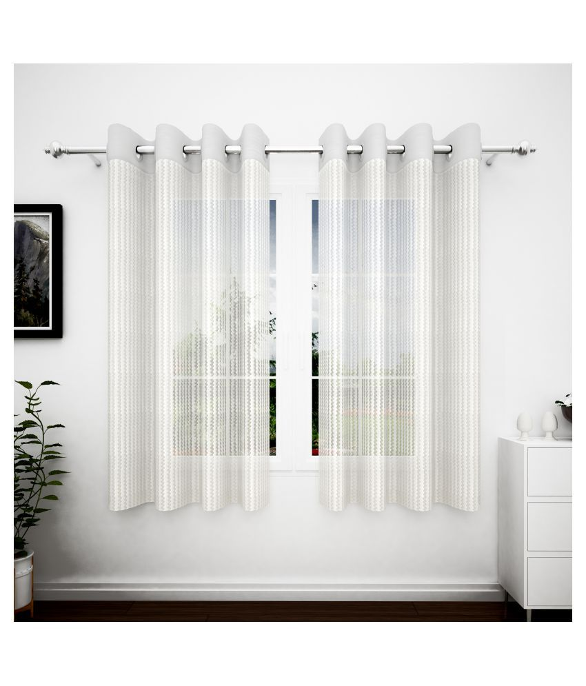 Story@Home Set of 2 Window Transparent Eyelet Polyester Curtains White