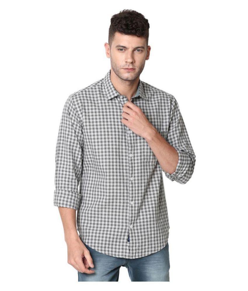 CAVALLO by Linen club Linen Grey Checks Shirt