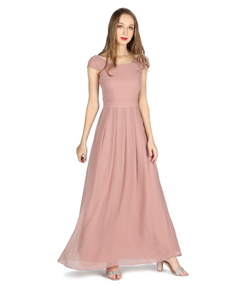 London Rag Polyester Brown A- line Dress