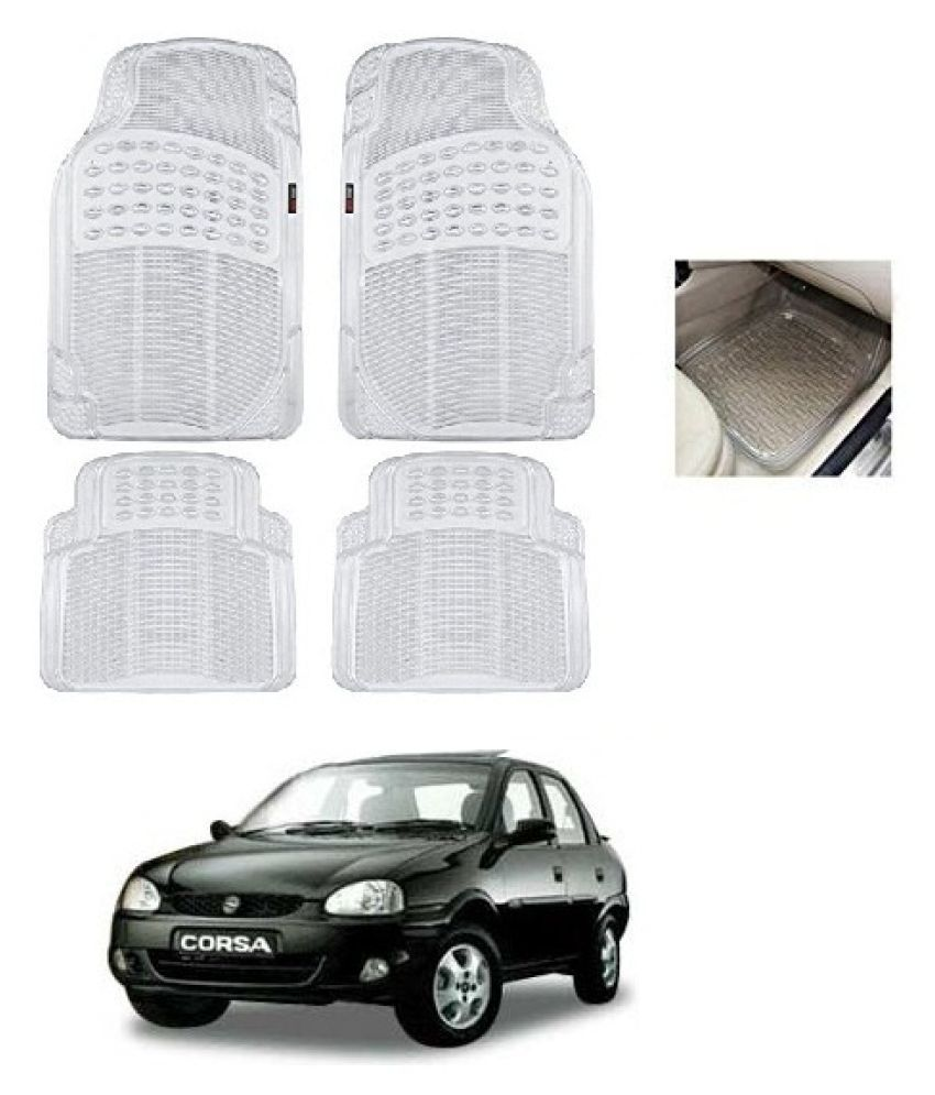 Trigcars White Set of 4 Floor Mat