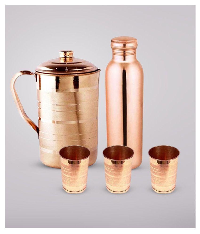 KC Copper 1.5L Jug, 1L Water Bottle and 300ml -3 Glass   5 Pcs Combo