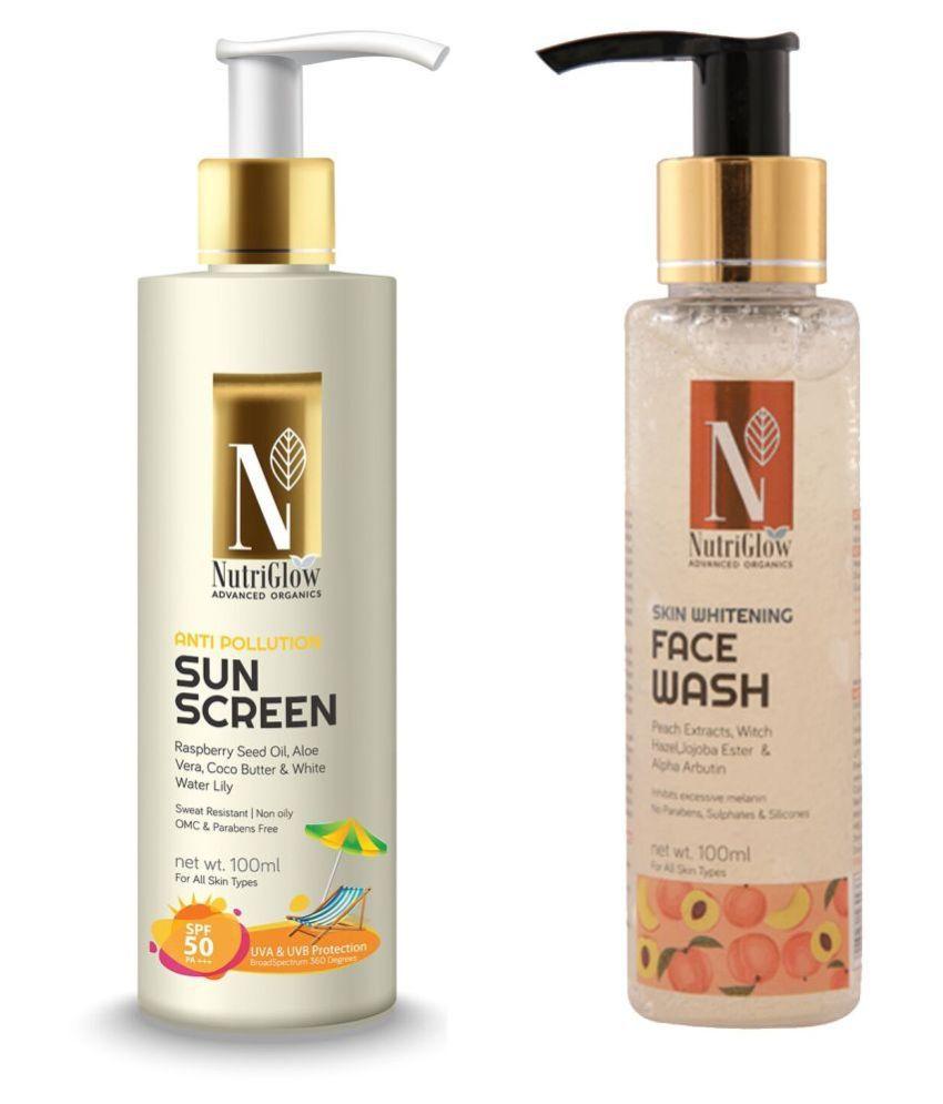 Nutriglow Advance Organics Anti Polution Sun Screen +Skin Whitening Face Wash Body Lotion SPF 50 ( 100 mL Pack of 2 )