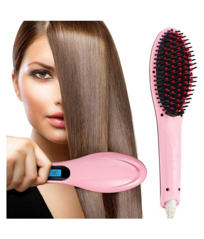 amourshoppe Electric Comb Brush  Hair Straightener ( Pink )
