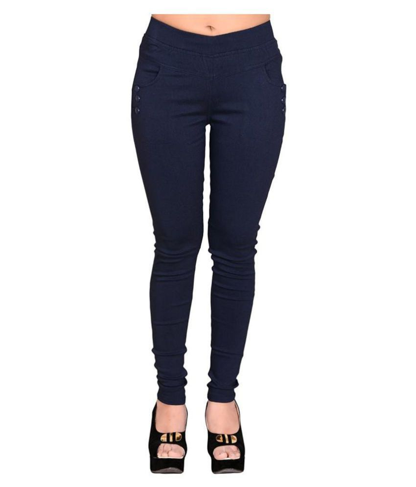 FeelBlue Poly Cotton Jeggings - Navy