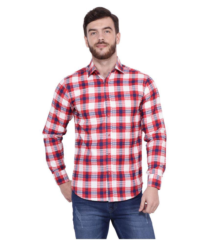 Rex Battle 100 Percent Cotton Red Checks Shirt
