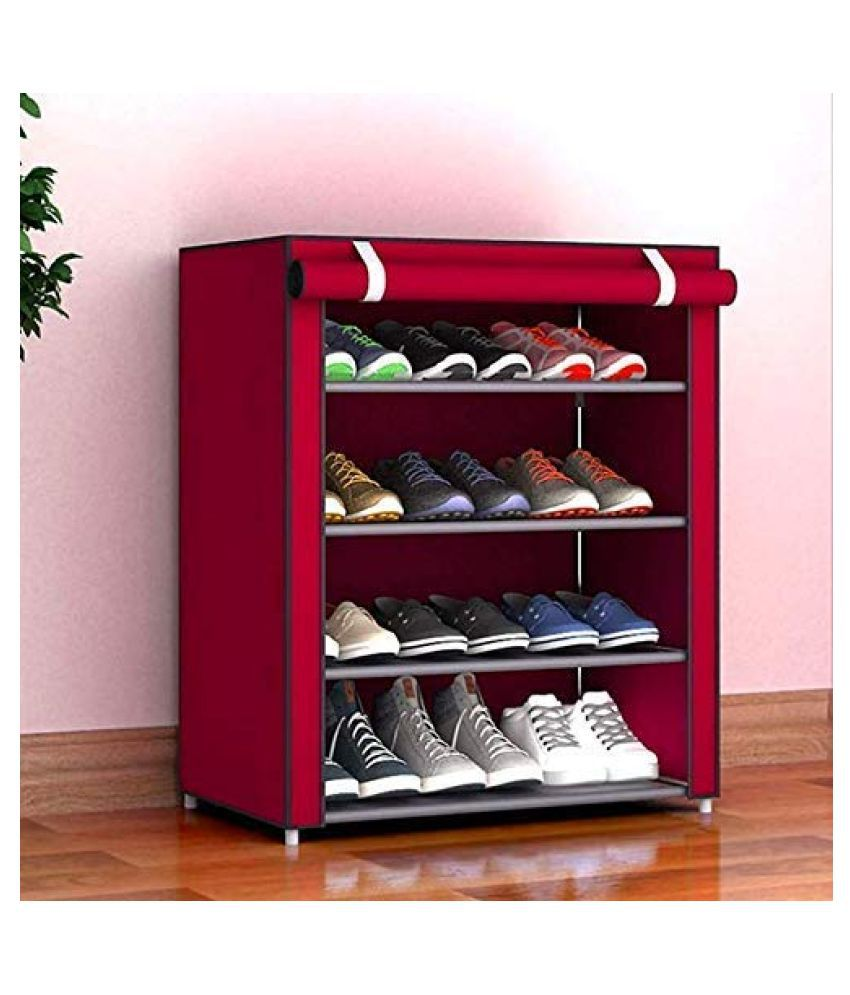 4 Layer Multipurpose Portable Folding Shoes Rack/Shoes Shelf/Shoes Cabinet with Wardrobe Cover, Easy Installation Stand for Shoes(Shoes Rack)(Shoes Rack, Shoes Racks for Home)_4 Layer Maroon