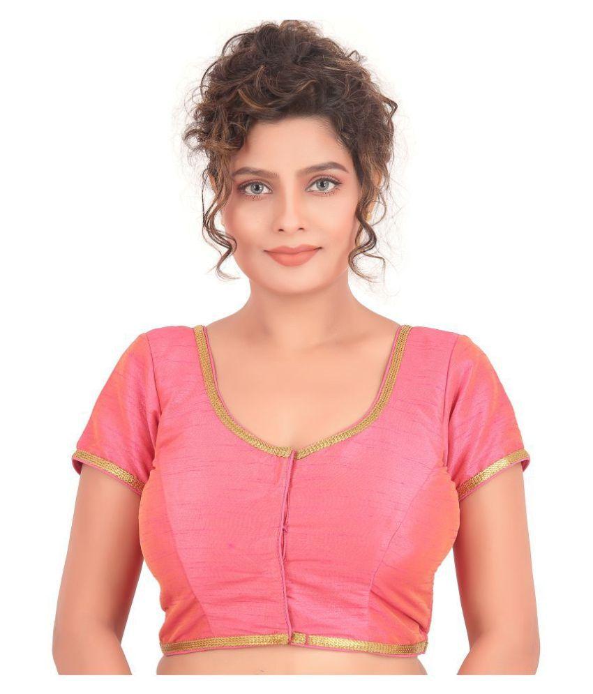 Atulya Designer Blouse Pink Art Silk Readymade with Pad Blouse