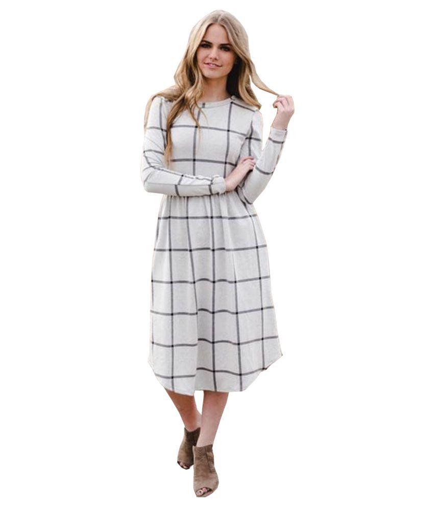 Ritsila Cotton White A- line Dress