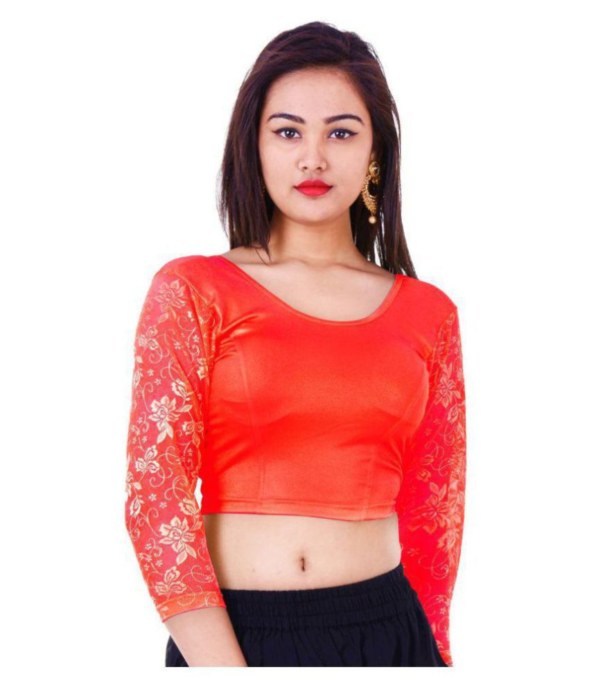 Wow Red Lycra Readymade without Pad Blouse