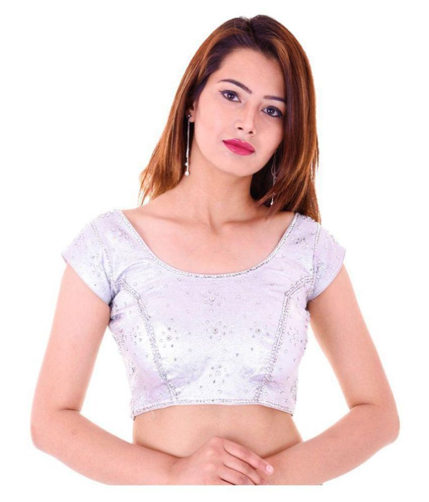 Wow Silver Silk Readymade with Pad Blouse