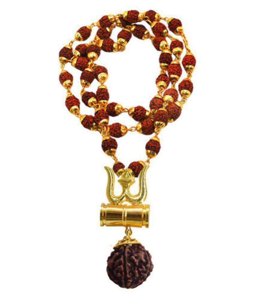 Men style New Arrival Loard Shiv Trishul Damru Locket With Puchmukhi Rudraksha Mala Gold-plated
