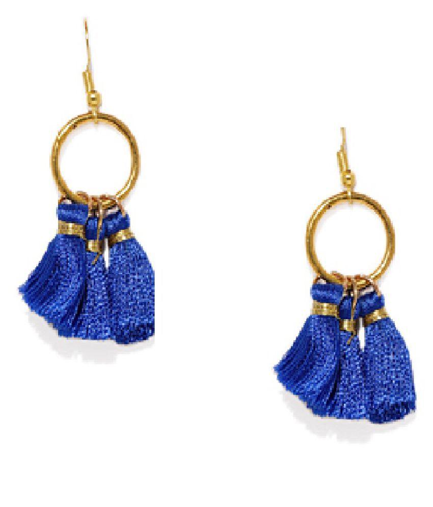OOMPH Jewellery Blue Small Tassel Drop Fashion Earrings For Women & Girls