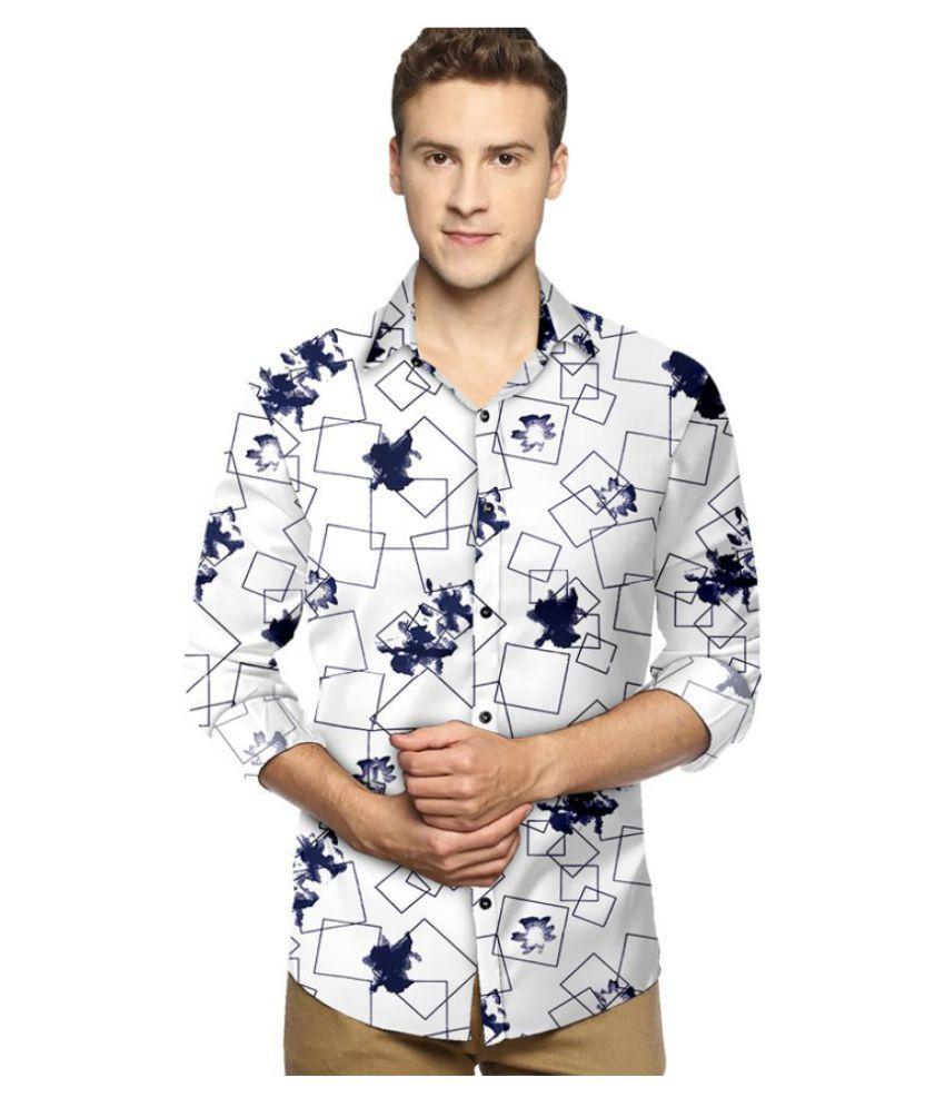 P&V Cotton Blend White Prints Shirt