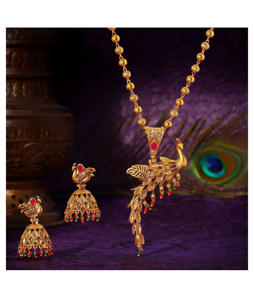 Asmitta Jewellery Brass Golden Matinee Traditional Gold Plated Necklaces Set
