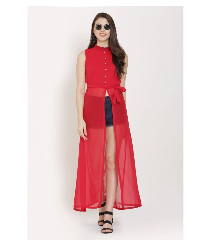 KMB ROYAL Georgette Red A- line Dress