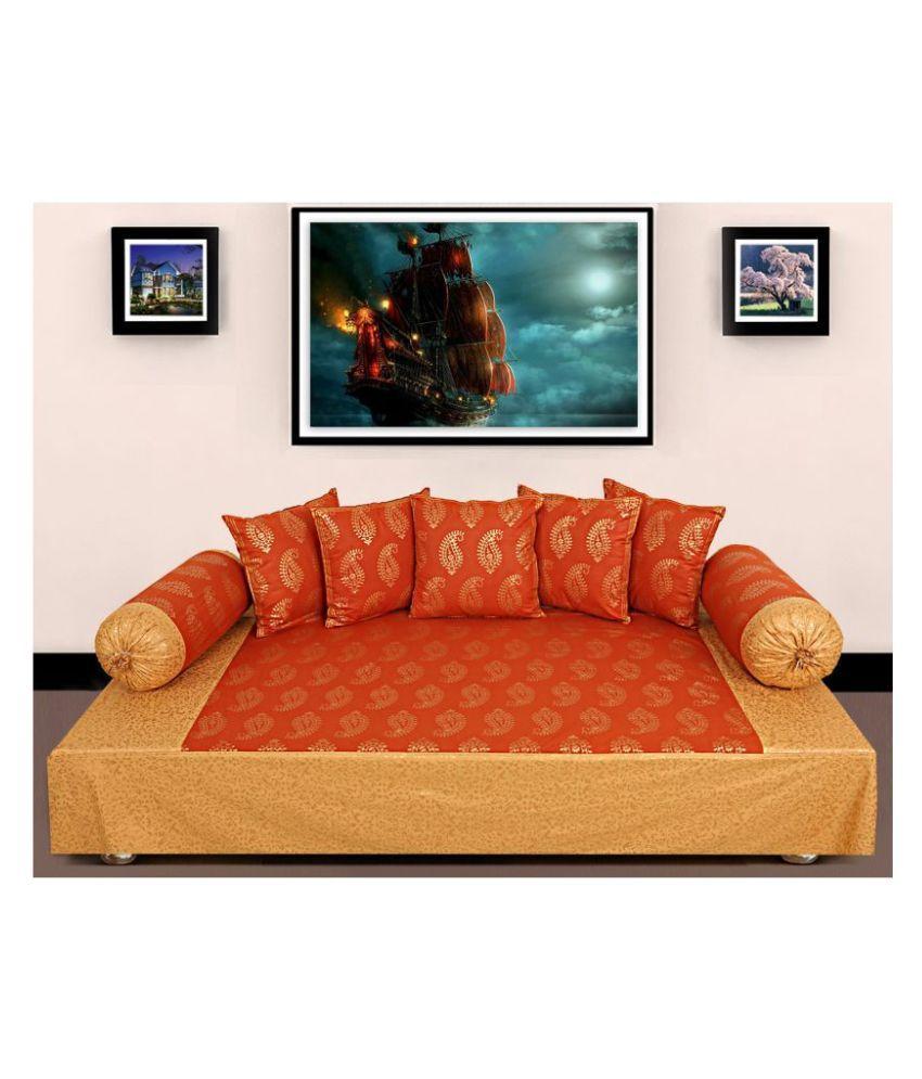 Jai Siyaram Printers Cotton Orange Paisley Diwan Set 8 Pcs
