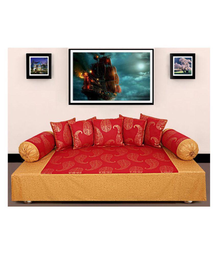 Jai Siyaram Printers Cotton Red Paisley Diwan Set 8 Pcs