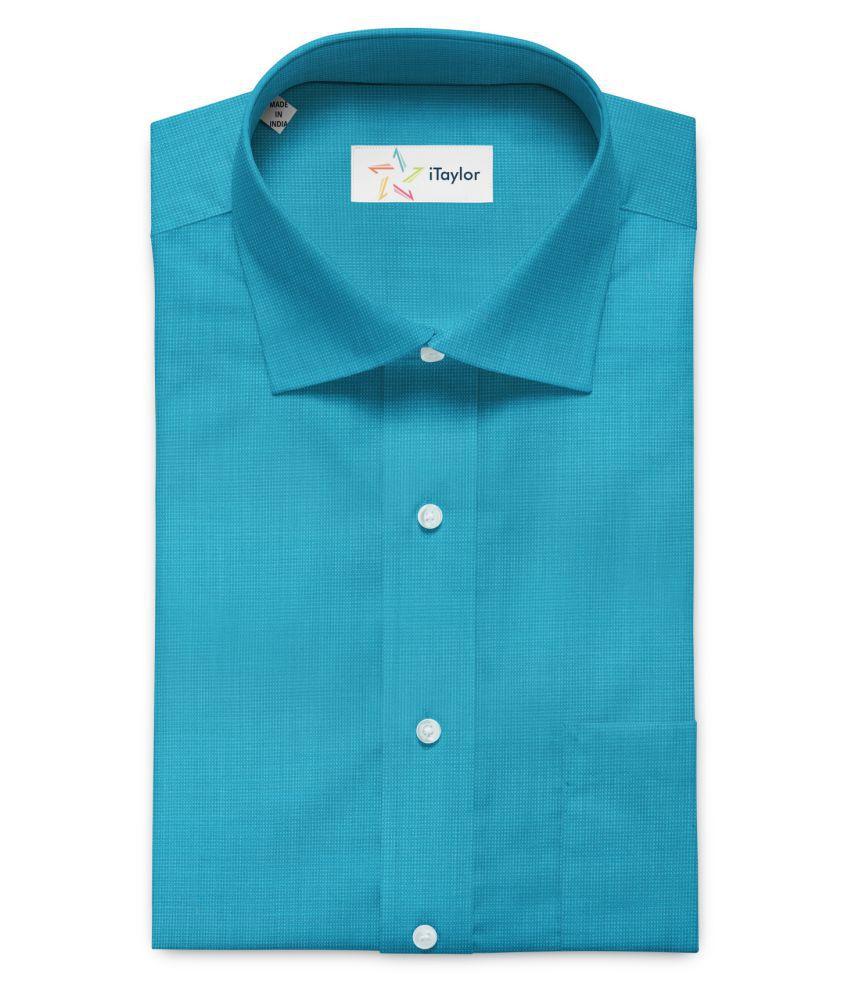 iTaylor Turquoise 100 Percent Cotton Unstitched Shirt pc