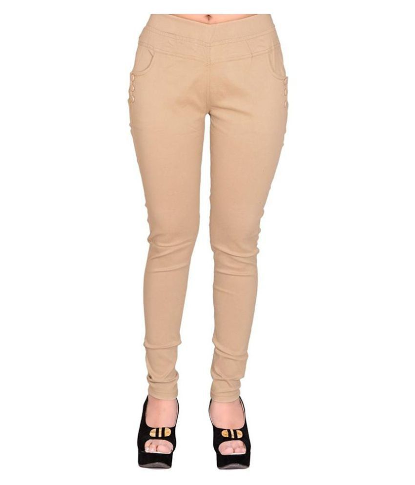 FeelBlue Poly Cotton Jeggings - Beige