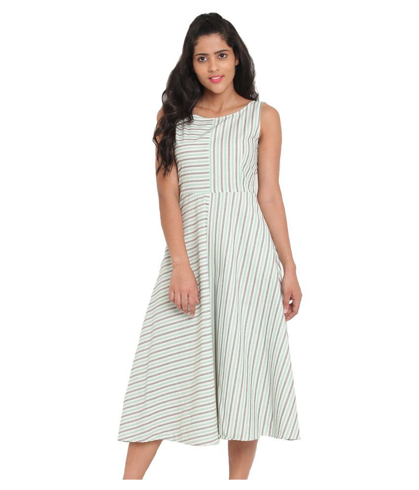 ANGELETE Cotton Green A- line Dress