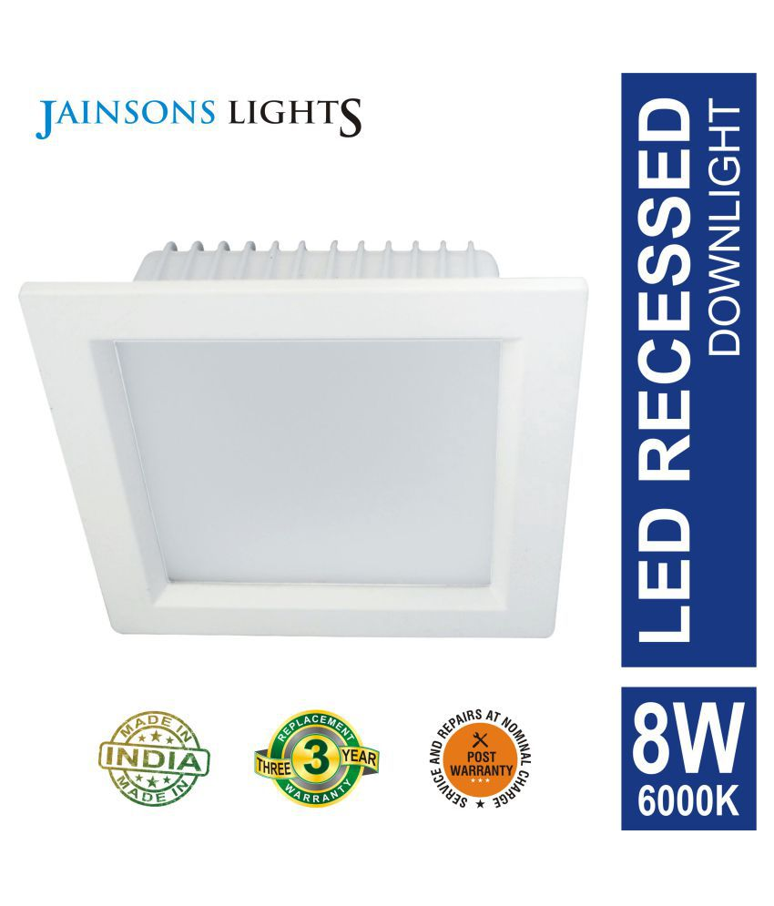 Jainsons Lights 8W Square Ceiling Light 7.5 cms. - Pack of 1