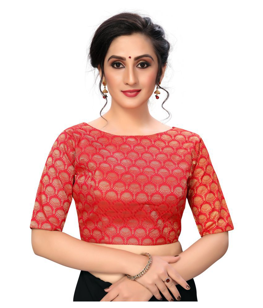 Shubh Sanidhya Red Silk Semi Stitched Blouse