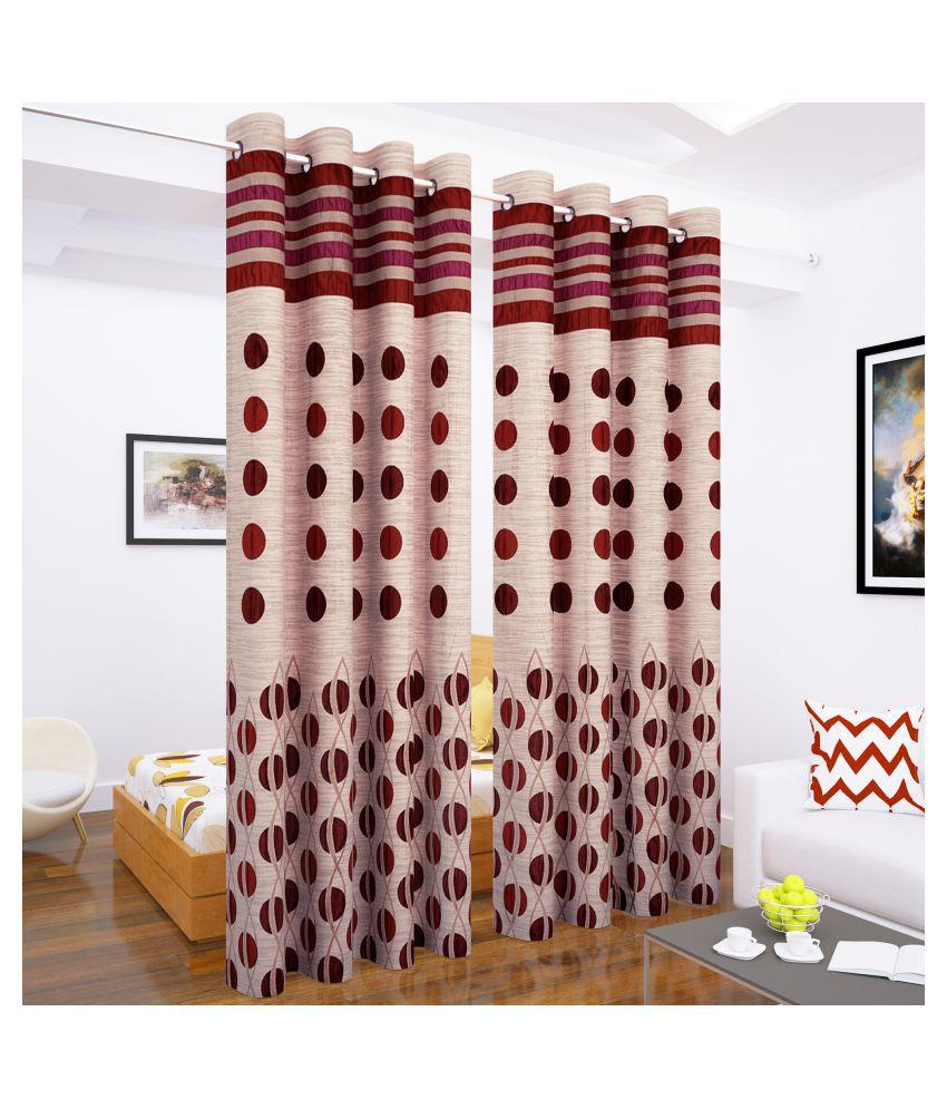 Story@Home Set of 2 Long Door Blackout Room Darkening Eyelet Polyester Curtains Maroon