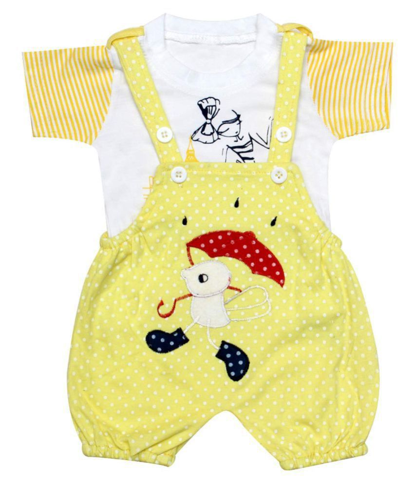 Babeezworld Dungaree For Boys & Girls Casual Printed Pure Cotton