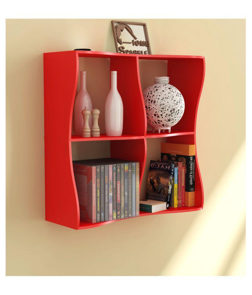 Home Sparkle Floating Shelves Red MDF - Pack of 1